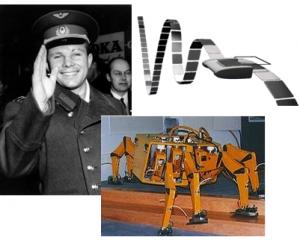 Yuri Gagarin, máquina de Turing y robot con patas