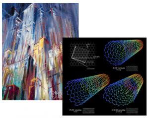 Pintura de Konrad Zuse y diseño de nanotubos